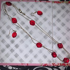 Red earrings and Necklace set